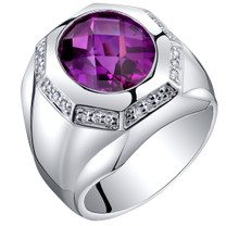 Mens 5.50 Carats Created Purple Sapphire Ring Sterling Silver Sizes 8 to 13 SR11530