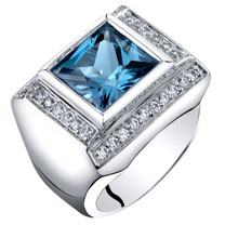 Mens 5 Carats London Blue Topaz Ring Sterling Silver Princess Cut Sizes 8 to 13 SR11534