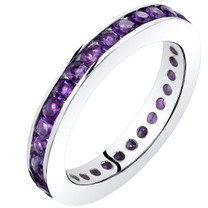 Amethyst Eternity Band Ring Sterling Silver 1.00 Carats Sizes 5-9 SR11538