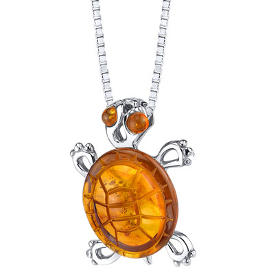 Baltic Amber Turtle Pendant Necklace Sterling Silver Multiple Color SP11350
