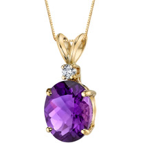 14 Karat Yellow Gold Oval Shape 2.00 Carats Amethyst Diamond Pendant