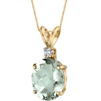 14 Kt Yellow Gold Oval Shape 2.25 Carats Green Amethyst Diamond Pendant