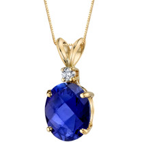 14 Karat Yellow Gold Oval Shape 3.50 Carats Created Blue Sapphire Diamond Pendant