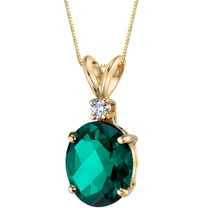 14 Karat Yellow Gold Oval Shape 2.50 Carats Created Emerald Diamond Pendant