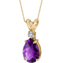 14 Karat Yellow Gold Pear Shape 1.50 Carats Amethyst Diamond Pendant