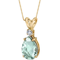 14 Karat Yellow Gold Pear Shape 1.50 Carats Green Amethyst Diamond Pendant