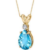 14 Karat Yellow Gold Pear Shape 2.25 Carats Swiss Blue Topaz Diamond Pendant