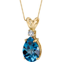 14 Karat Yellow Gold Pear Shape 2.00 Carats London Blue Topaz Diamond Pendant