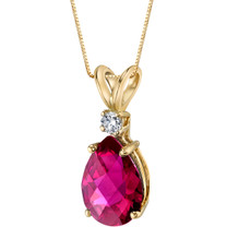 14 Karat Yellow Gold Pear Shape 2.50 Carats Created Ruby Diamond Pendant