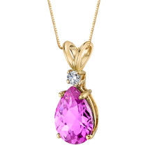 14 Karat Yellow Gold Pear Shape 2.50 Carats Created Pink Sapphire Diamond Pendant