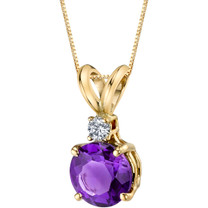14 Karat Yellow Gold Round Cut 1.00 Carats Amethyst Diamond Pendant