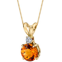14 Karat Yellow Gold Round Cut 1.00 Carats Citrine Diamond Pendant