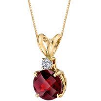 14 Karat Yellow Gold Round Cut 1.50 Carats Garnet Diamond Pendant