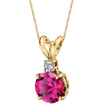 14 Karat Yellow Gold Round Cut 1.50 Carats Created Ruby Diamond Pendant
