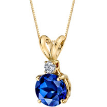 14 Karat Yellow Gold Round Cut 1.50 Carats Created Blue Sapphire Diamond Pendant