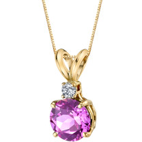 14 Karat Yellow Gold Round Cut 1.50 Carats Created Pink Sapphire Diamond Pendant
