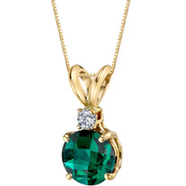 14 Karat Yellow Gold Round Cut 1.00 Carats Created Emerald Diamond Pendant