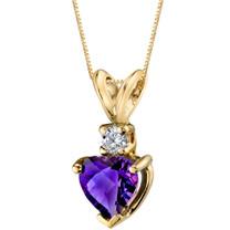14 Karat Yellow Gold Heart Shape 0.75 Carats Amethyst Diamond Pendant