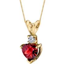 14 Karat Yellow Gold Heart Shape 1.50 Carats Garnet Diamond Pendant