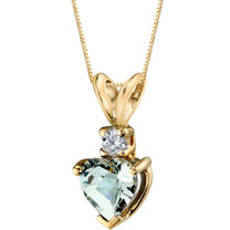 14 Karat Yellow Gold Heart Shape 0.75 Carats Green Amethyst Diamond Pendant