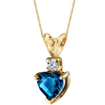 14 Karat Yellow Gold Heart Shape 1.00 Carats London Blue Topaz Diamond Pendant