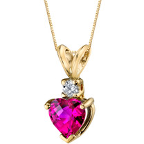 14 Karat Yellow Gold Heart Shape 1.00 Carats Created Ruby Diamond Pendant