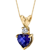14 Karat Yellow Gold Heart Shape 1.00 Carats Created Blue Sapphire Diamond Pendant