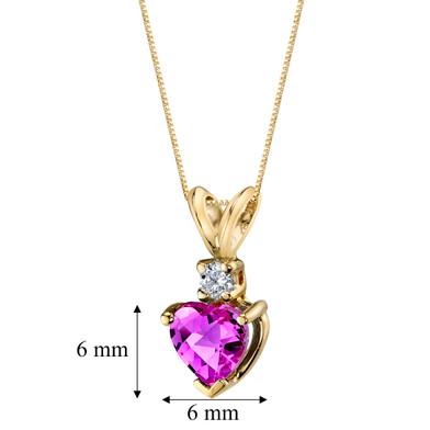 14 Karat Yellow Gold Heart Shape 1.00 Carats Created Pink Sapphire Diamond Pendant P9652