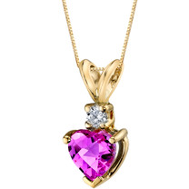 14 Karat Yellow Gold Heart Shape 1.00 Carats Created Pink Sapphire Diamond Pendant P9652