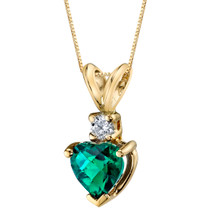 14 Karat Yellow Gold Heart Shape 0.75 Carats Created Emerald Diamond Pendant P9656