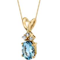 14 Karat Yellow Gold Oval Shape 0.75 Carats Aquamarine Diamond Pendant P9658