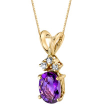 14 Karat Yellow Gold Oval Shape 0.75 Carats Amethyst Diamond Pendant P9660
