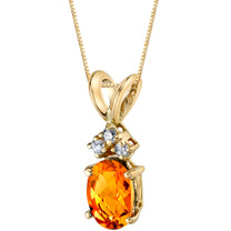 14 Karat Yellow Gold Oval Shape 0.75 Carats Citrine Diamond Pendant