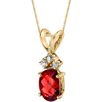 14 Karat Yellow Gold Oval Shape 1.00 Carats Garnet Diamond Pendant P9664