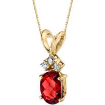 14 Karat Yellow Gold Oval Shape 1.00 Carats Garnet Diamond Pendant P9664
