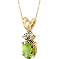 14 Karat Yellow Gold Oval Shape 1.00 Carats Peridot Diamond Pendant P9666