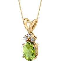 14 Karat Yellow Gold Oval Shape 1.00 Carats Peridot Diamond Pendant P9666