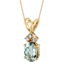 14 Karat Yellow Gold Oval Shape 0.75 Carats Green Amethyst Diamond Pendant P9668
