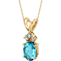 14 Karat Yellow Gold Oval Shape 1.00 Carats Swiss Blue Topaz Diamond Pendant P9670