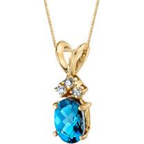 14 Karat Yellow Gold Oval Shape 1.00 Carats London Blue Topaz Diamond Pendant P9672