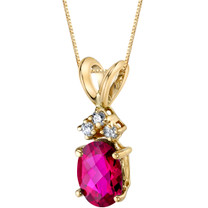 14 Karat Yellow Gold Oval Shape 1.00 Carats Created Ruby Diamond Pendant P9674