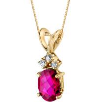 14 Karat Yellow Gold Oval Shape 1.00 Carats Created Ruby Diamond Pendant P9674