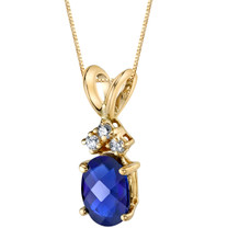 14 Karat Yellow Gold Oval Shape 1.00 Carats Created Blue Sapphire Diamond Pendant P9676