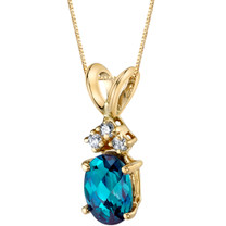 14 Karat Yellow Gold Oval Shape 1.00 Carats Created Alexandrite Diamond Pendant P9680