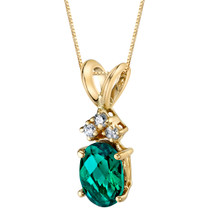 14 Karat Yellow Gold Oval Shape 0.75 Carats Created Emerald Diamond Pendant P9682