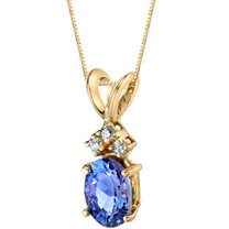 14 Karat Yellow Gold Oval Shape 0.75 Carats Tanzanite Diamond Pendant P9684