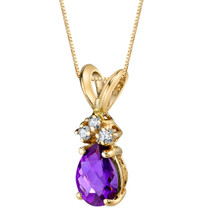 14 Karat Yellow Gold Pear Shape 0.50 Carats Amethyst Diamond Pendant P9688