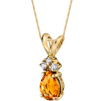 14 Karat Yellow Gold Pear Shape 0.75 Carats Citrine Diamond Pendant P9690