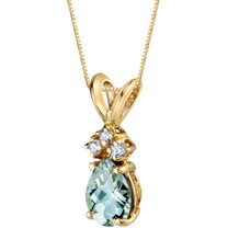 14 Karat Yellow Gold Pear Shape 0.50 Carats Green Amethyst Diamond Pendant P9696