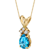 14 Karat Yellow Gold Pear Shape 0.75 Carats Swiss Blue Topaz Diamond Pendant P9698
